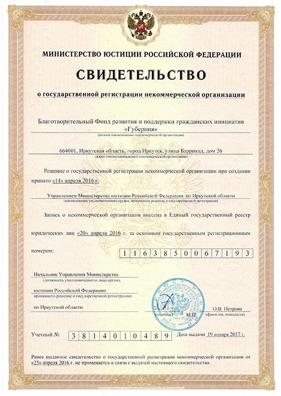 регистрация некоммерческой организации фонда